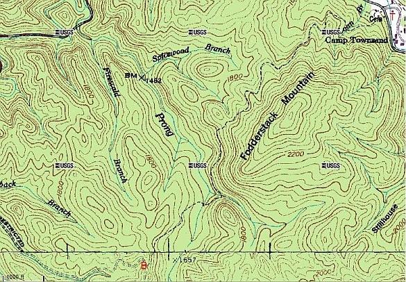 West Prong Trail - Appalachian trail topo map